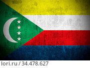 Weathered Flag Of Union of the Comoros, fabric textured. Стоковое фото, фотограф Zoonar.com/Ruslan Gilmanshin / age Fotostock / Фотобанк Лори
