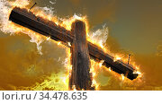 Wooden cross against the sky in fire. Стоковое фото, фотограф Vitanovski Jovanche / easy Fotostock / Фотобанк Лори