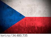 Weathered Flag Of Czech Republic, fabric textured. Стоковое фото, фотограф Zoonar.com/Ruslan Gilmanshin / age Fotostock / Фотобанк Лори