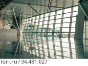 Airport waiting area, seats and outside the window scene. Стоковое фото, фотограф Zoonar.com/Ruslan Gilmanshin / age Fotostock / Фотобанк Лори