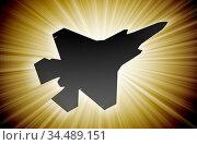 Jet plane silhouette, modern fighter in the sky (starburst) Стоковое фото, фотограф Zoonar.com/Micha Klootwijk / age Fotostock / Фотобанк Лори