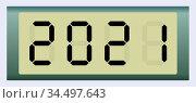 Electronic scoreboard with the number 2021. Vector illustration. Стоковая иллюстрация, иллюстратор Сергей Антипенков / Фотобанк Лори
