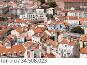 Lisbon aerial view at sunny summer day (2017 год). Стоковое фото, фотограф EugeneSergeev / Фотобанк Лори