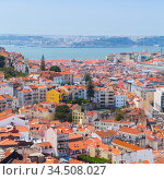 Lisbon aerial view at sunny summer day, square photo (2017 год). Стоковое фото, фотограф EugeneSergeev / Фотобанк Лори