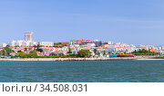 Lisbon coastal panoramic view at sunny summer day (2017 год). Стоковое фото, фотограф EugeneSergeev / Фотобанк Лори
