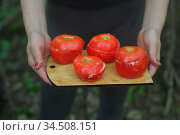 Stuffed tomatoes for a picnic in the forest. Стоковое фото, фотограф Марина Володько / Фотобанк Лори