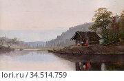 Favorin Ellen - Landscape - Finnish School - 19th Century. Редакционное фото, фотограф Artepics / age Fotostock / Фотобанк Лори
