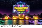 A row of pumpkins Jack'o Lantern in front of a billboard inviting you to a fun Halloween party. 3d rendering. Стоковая иллюстрация, иллюстратор Евдокимов Максим / Фотобанк Лори