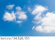 Blue sky with cumulus clouds at daytime. Стоковое фото, фотограф EugeneSergeev / Фотобанк Лори