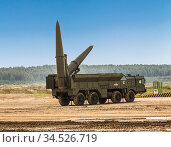 "Russia. Moscow region, Alabino polygon, International Army games-2020.  A demonstration of the combat and firing capabilities of the Russian operational-tactical missile complex ""Iskander"" Редакционное фото, фотограф Наталья Волкова / Фотобанк Лори"