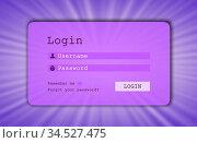Login interface - username and password, starburst background, purple. Стоковое фото, фотограф Zoonar.com/Micha Klootwijk / age Fotostock / Фотобанк Лори