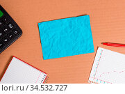 Cardboard paperboard notebook office study supplies chart reminder... Стоковое фото, фотограф Zoonar.com/Artur Szczybylo / easy Fotostock / Фотобанк Лори