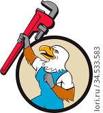 Illustration of a american bald eagle plumber raising up giant pipe... Стоковое фото, фотограф Zoonar.com/patrimonio designs / easy Fotostock / Фотобанк Лори