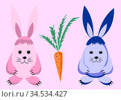 Two pink and lilac hares and a carrot are isolated on a pink background. Cartoon vector image. Стоковая иллюстрация, иллюстратор Катерина Белякина / Фотобанк Лори