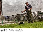 Мужчина 60 лет косит траву на участке триммером. Стоковое фото, фотограф Юлия Юриева / Фотобанк Лори