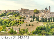 Historical Skyline of Urbino at the Marche Region, Italy. Стоковое фото, фотограф Olaf Protze / age Fotostock / Фотобанк Лори