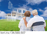 Senior Couple Faces Ghosted House Drawing, Partial Photo and Rolling... Стоковое фото, фотограф Zoonar.com/Andy Dean Photography / age Fotostock / Фотобанк Лори