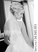 Portrait of self-confident bride. Стоковое фото, фотограф Nataliia Zhekova / Фотобанк Лори