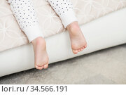 A close-up of tiny baby feet. Стоковое фото, фотограф Nataliia Zhekova / Фотобанк Лори