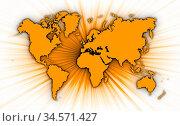Map of world with starburst on background, orange. Стоковое фото, фотограф Zoonar.com/Micha Klootwijk / age Fotostock / Фотобанк Лори