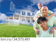 Happy African American Family with Ghosted House Drawing, Partial... Стоковое фото, фотограф Zoonar.com/Andy Dean Photography / age Fotostock / Фотобанк Лори