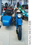 """Мотоцикл """"Ирбит"""" коляской. Музей мотоциклов. Редакционное фото, фотограф Макаров Алексей / Фотобанк Лори"""