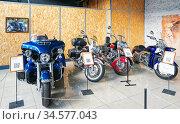 Экспозиция американских мотоциклов. Музей мотоциклов. Редакционное фото, фотограф Макаров Алексей / Фотобанк Лори