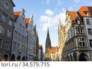 Prinzipalmarkt mit St. Lamberti Kirche, Muenster, Nordrhein-Westfalen... Стоковое фото, фотограф Zoonar.com/W. Wirth / age Fotostock / Фотобанк Лори