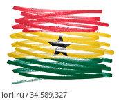 Flag illustration made with pen - Ghana. Стоковое фото, фотограф Zoonar.com/Micha Klootwijk / age Fotostock / Фотобанк Лори