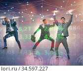 The businessmen supporting network mesh in concept. Стоковое фото, фотограф Elnur / Фотобанк Лори