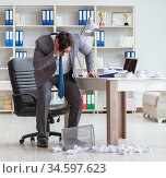 Angry businessman shocked working in the office fired sacked. Стоковое фото, фотограф Elnur / Фотобанк Лори
