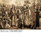 El Cid, Death and Triumph. By Napoleon Thomas cartoonist. Cereghetti... Стоковое фото, фотограф Juan García Aunión / age Fotostock / Фотобанк Лори