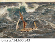 Armfield Maxwell - the Storm - British School - 19th Century. Стоковое фото, фотограф Artepics / age Fotostock / Фотобанк Лори