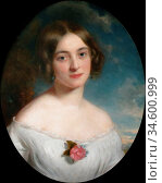 Baxter Charles - Portrait of Mrs Atkinson - British School - 19th... Стоковое фото, фотограф Artepics / age Fotostock / Фотобанк Лори