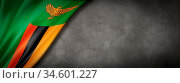 Zambia flag on concrete wall. Horizontal panoramic banner. 3D illustration. Стоковое фото, фотограф Zoonar.com/Laurent Davoust / age Fotostock / Фотобанк Лори