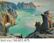 Birch Samuel John Lamorna - Coastline - British School - 19th Century. Стоковое фото, фотограф Artepics / age Fotostock / Фотобанк Лори