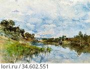 Boldini Giovanni - by the River - British School - 19th Century. Стоковое фото, фотограф Artepics / age Fotostock / Фотобанк Лори