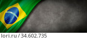 Brazil flag on concrete wall. Horizontal panoramic banner. 3D illustration. Стоковое фото, фотограф Zoonar.com/Laurent Davoust / age Fotostock / Фотобанк Лори