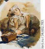 Bonington Richard Parkes - a Young Woman Asleep - British School - ... Стоковое фото, фотограф Artepics / age Fotostock / Фотобанк Лори