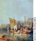 Bonington Richard Parkes - Fishing Boats in Boulogne Harbour - British... Стоковое фото, фотограф Artepics / age Fotostock / Фотобанк Лори