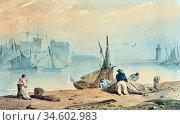 Bonington Richard Parkes - Honfleur - British School - 19th Century. Стоковое фото, фотограф Artepics / age Fotostock / Фотобанк Лори