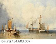 Bonington Richard Parkes - Shipping Becalmed off Dunkerque - British... Стоковое фото, фотограф Artepics / age Fotostock / Фотобанк Лори
