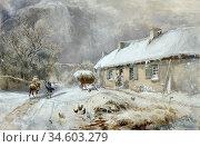 Bough Samuel - Burns' Cottage Alloway - British School - 19th Century. Стоковое фото, фотограф Artepics / age Fotostock / Фотобанк Лори