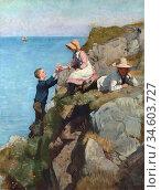 Bourdillon Frank Wright - on the Cliffs - British School - 19th Century... Стоковое фото, фотограф Artepics / age Fotostock / Фотобанк Лори