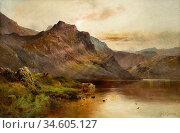 Breanski I Alfred De - Cattle Watering Beside a Highland Loch - British... Стоковое фото, фотограф Artepics / age Fotostock / Фотобанк Лори