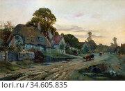Breanski II Alfred De - Village Scene Cleve Prior Worcestershire - ... Стоковое фото, фотограф Artepics / age Fotostock / Фотобанк Лори