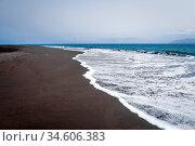 Black sand beach in Fogo Island, Cape Verde, Africa. Стоковое фото, фотограф Zoonar.com/Laurent Davoust / age Fotostock / Фотобанк Лори