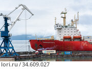 Sevmorput - nuclear container ship Russian Corporation FSUE Atomflot. Container terminal commercial sea port. Northern Sea Route (2019 год). Редакционное фото, фотограф А. А. Пирагис / Фотобанк Лори