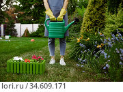 Woman in apron holds watering can in the garden. Стоковое фото, фотограф Tryapitsyn Sergiy / Фотобанк Лори