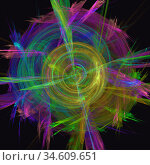 Abstract multi-colored fractal background image. Yellow pink and blue colors. Стоковая иллюстрация, иллюстратор Alexander Tihonovs / Фотобанк Лори